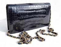 MAXIMA Dark Navy BLUE 1990's-2000's CROCODILE Skin Cross Body Shoulder Bag CLUTCH