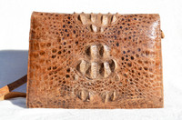 Bohemian 1960's-70's Hornback Crocodile Skin Shoulder Bag