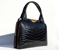 Lovely 1960's Jet BLACK CROCODILE Belly Skin Handbag SHOULDER Bag