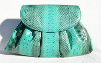 1990's TURQUOISE Green Snake Skin Clutch Shoulder Bag