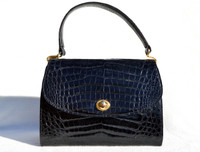 Jet Black 1960's SACHA Crocodile Skin Handbag - FRANCE
