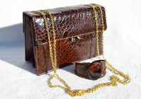 BELLESTONE 1950's-60's Chocolate Brown Turtle Skin Shoulder Bag w/Matching Cuff!