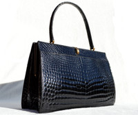 Timeless 1950's-60's Black CROCODILE Porosus Belly Handbag - FRANCE