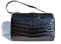Classic 1950's-60's Jet BLACK Alligator Belly Skin Handbag SHOULDER Bag - FRANCE