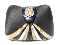 BLACK & TAN 1980's Deco Style Hard-Sided FROG SKIN Clutch Shoulder Bag - Ammonite!
