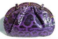 PURPLE and Black 1980's-90's JUDITH LEIBER Anaconda Snake Skin CLUTCH