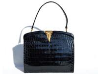 Gorgeous ROSENFELD 1950's-60's BLACK Alligator Belly Skin Handbag - Great Clasp!