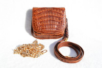 Cognac LANA MARKS -  LANA OF LONDON 1990's CROCODILE Belly Skin Shoulder Cross Body Bag