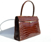 Lovely Chocolate Brown 1950's-60's Kelly Style Crocodile Belly Skin Handbag