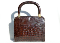Lovely 1950's-60's Chocolate Brown ALLIGATOR Belly Skin Bag - ARGENTINA