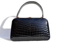NOS Stunning COBLENTZ 1960's JET BLACK Crocodile POROSUS Belly Skin Handbag