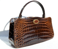 "1950's-60's Chocolate Brown 13.5"" CROCODILE Belly Skin Handbag - SAKS FIFTH AVENUE - FRANCE"