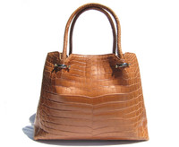 Early 2000's Light Cognac MATTE Finish ALLIGATOR Belly Skin Handbag Shoulder Bag