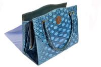 SUPER RARE Fabulous BLUE 1950's-60's MARTIN VAN SCHAAK Anteater Skin Handbag S-4040