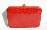 Bright RED Hard-Sided ALLIGATOR Belly Skin CLUTCH Shoulder Bag