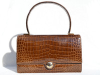 LEDERER DE PARIS 1950's-60's Honey Brown CROCODILE Porosus Skin Bag - GRIMALDI - HERMES Style