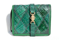 Unusual 1990's GREEN Patchwork CROCODILE Skin Clutch Bag Jewelry Case