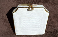 Beautiful WHITE Hard-Sided ALLIGATOR Belly Skin CLUTCH Shoulder Bag - JOHN F. - ITALY