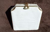 Beautiful WHITE Hard-Sided ALLIGATOR Belly Skin CLUTCH Shoulder Bag - JOHN F. - ITALY