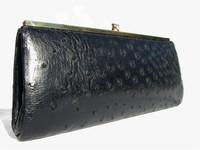 Jet Black 1950's-60's Ostrich Skin Clutch Purse - CORBEAU CURIO