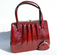 RED 1950's-1960's TURTLE Skin Handbag with Change Purse