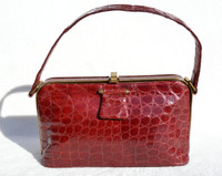 FASSBENDER 1950's-60's RED Alligator Skin Handbag
