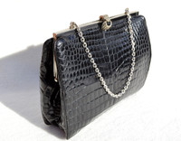 Small JET BLACK 1950's-60's CROCODILE Belly Evening Bag- Marcasites!