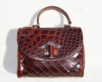 Handmade MAXIMA Brown Alligator Belly Skin Doctor Style Handbag - Titti Del'Aqua - ITALY