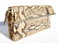 1970's-80's Susan Gail Pleated PYTHON Snake Skin CLUTCH Handbag - Great Handles!