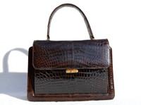 1950's-60's Dark Chocolate Brown ALLIGATOR Belly Skin Handbag