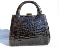 Stunning DARK GRAY 1990's ALLIGATOR Belly Skin Handbag Shoulder Bag - SUAREZ
