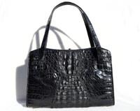 JET BLACK 1950's-60's Hornback CROCODILE Handbag