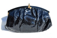 1970's-80's BLACK Susan Gail COBRA Snake Skin CLUTCH Shoulder Bag