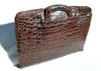 Lovely 1950's-60's ALLIGATOR Belly Skin PORTFOLIO Case Briefcase - Retractable Handles!