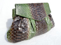 Stunning XL Metallic GREEN & BROWN PYTHON Snake Skin Clutch Shoulder Bag - Fatto a Mano CARLOS FALCHI