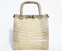 MODELL ROYAL 1960's Cream, Taupe & Brown CROCODILE Belly Skin Locking Handbag - SILVER