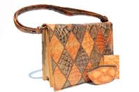 RARE Cognac & Taupe 1950's-60's Patchwork Anteater Skin Shoulder Bag