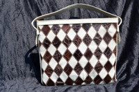 White & Brown 1950's-60's Patchwork Alligator Skin & Leather Shoulder Bag