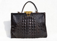 Darkest Espresso Brown BLACK 1930's EDWARDIAN Hornback Alligator Handbag