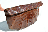 "XXL 16"" 1950's-60's Chocolate Brown ALLIGATOR Skin CLUTCH"