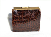 Chocolate Brown 1940's Alligator Skin Wallet & Change Purse - DEITSCH