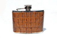 Custom 4 oz. HORNBACK Alligator Skin Stainless WHISKEY Flask - NEW!