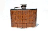 Custom 4 oz. HORNBACK Alligator Skin Stainless WHISKEY Flask - NEW!