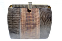 1970's-80's Gray & Taupe Lizard Skin CLUTCH Shoulder Bag
