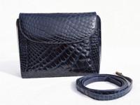 MAXIMA Dark Navy BLUE 1990's-2000's ALLIGATOR Belly Skin Messenger Cross Body Shoulder Bag CLUTCH