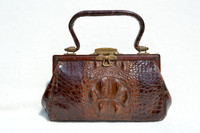 Early 1900's Chocolate Brown Edwardian Hornback ALLIGATOR Handbag