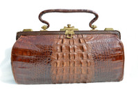 Gorgeous 1930's-40's Victorian Style Warm Brown Hornback Alligator Skin Handbag