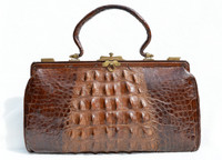 "XXL 14"" Early 1900's Brown Edwardian Hornback Alligator Handbag"