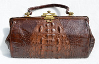 Beautiful 1930's-40's Victorian Style Brown Hornback Alligator Skin Handbag