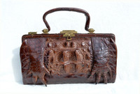 Unusual Early 1900's Brown Antique Hornback Alligator Purse w/Paws!